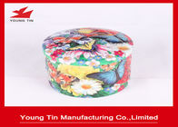 Embossed Empty Round Gift Tins Butterfly Printed Metal Tinplate Fancy Lids On Top