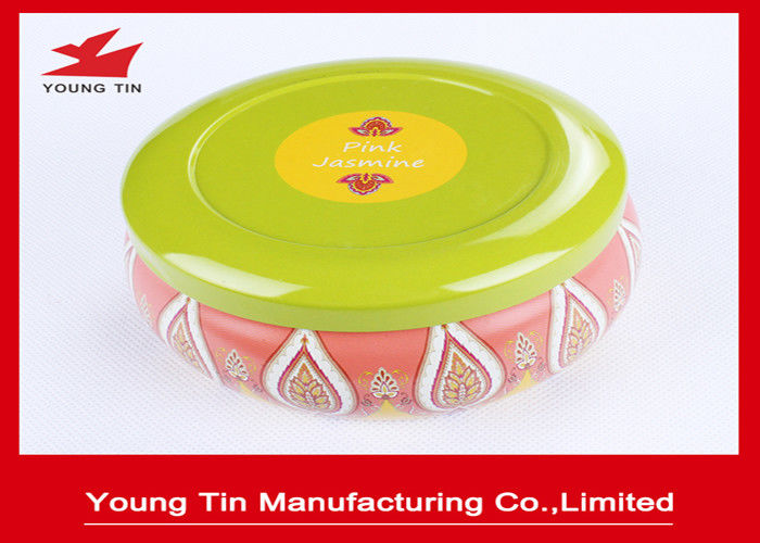 Round Cute CMYK Printed Tin Boxes , 0.23 MM Recyclable Tinplate Candles Container