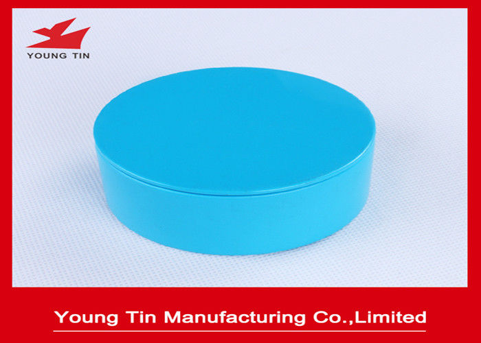 Empty Seamless Round Gift Tins Candy Packaging Blue Color Printed 85x36mm